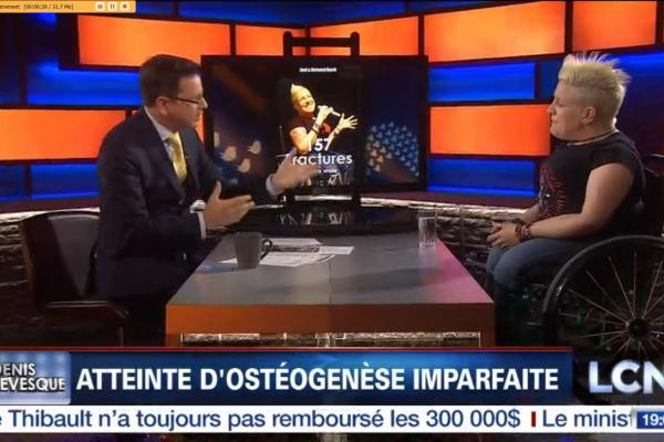 Jani Barré, humoriste et conférencière parle de son livre 157 Fractures à Denis Lévesques - Éditions Sarrazin